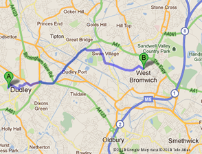 Google map of West Bromwich. Accountants for West Bromwich